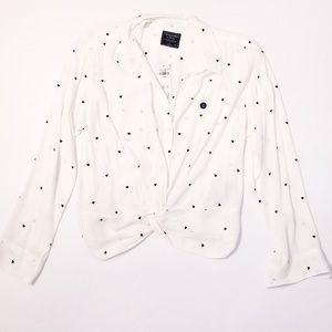 NWT A&F B&W Heart Surplice Long Sleeve Blouse L